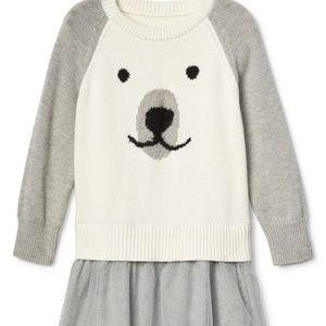 Gap polar bear mixed fabric tutu dress 18-24mo